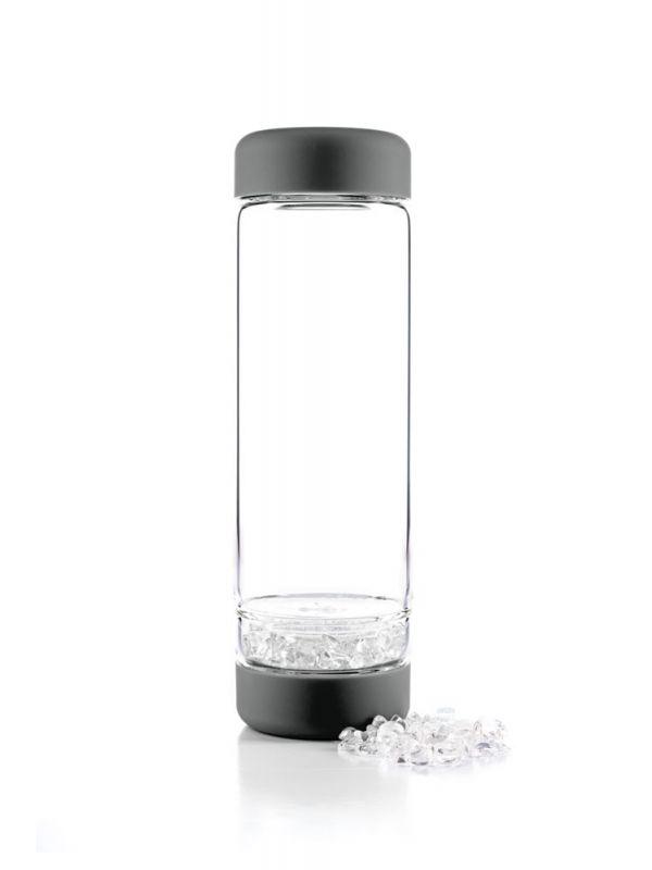 Edelsteinwasserflasche dunkelgrau. crystal water bottle dark grey