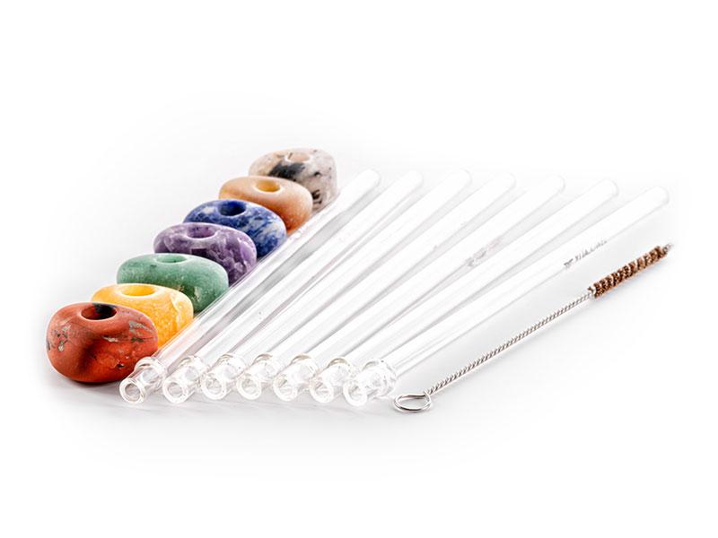 vitajuwel crystal straws glass straw set mit 7 strohhalmen aus glas 7 edelsteinen und reinigungsbürste aus kokosnussfaser