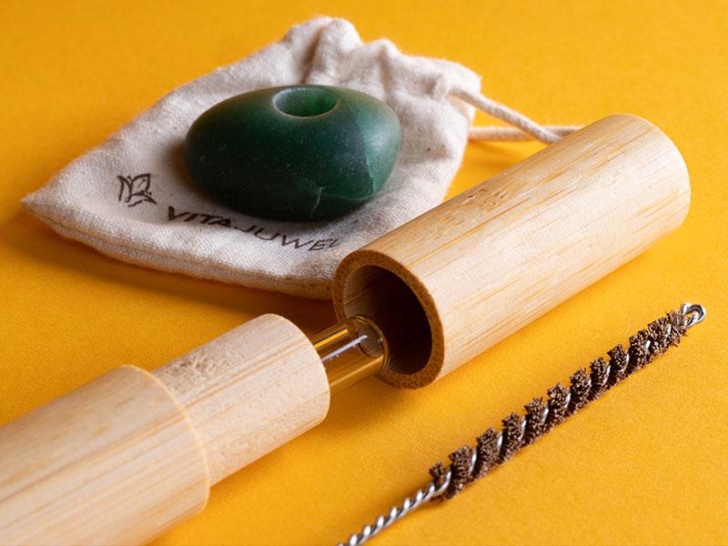 vitajuwel crystal straws glas strohhalm bambus hülle kokosnusfaser bürste zum reinigen