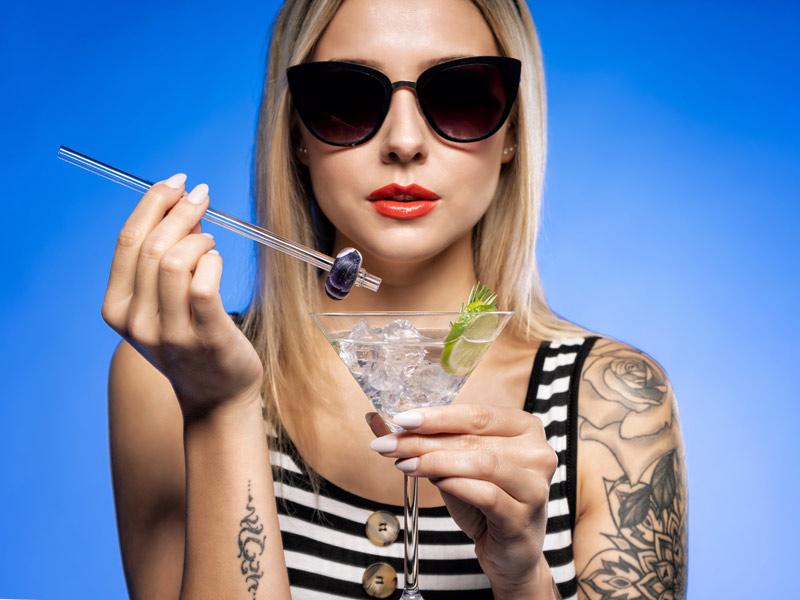 vitajuwel crystal straws glas strohhalm mit edelstein love what you drink