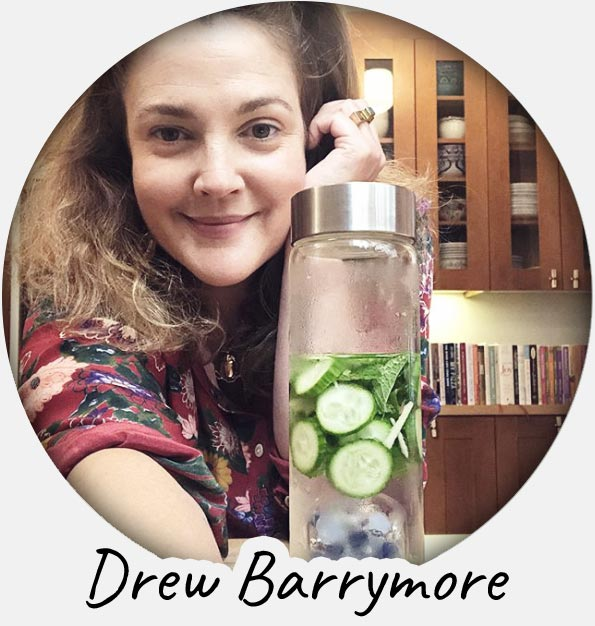 drew barrymore crystal water bottle lemon