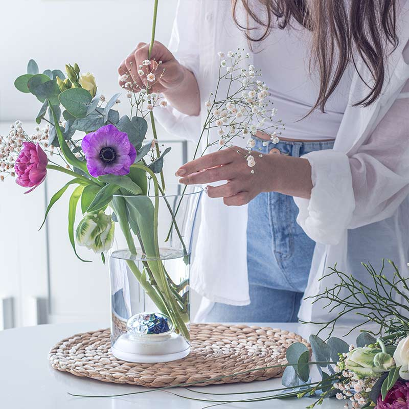 vitajuwel blumevase länger blühen edelsteine glas