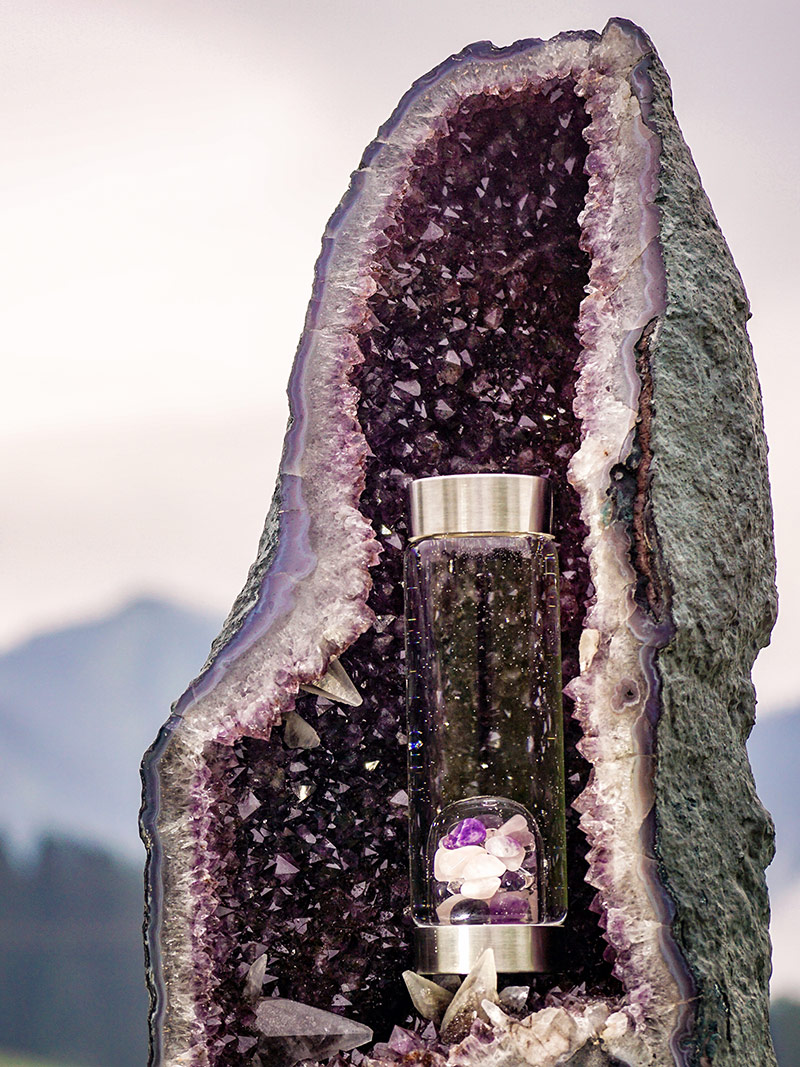 amethyst geode crystal water bottle