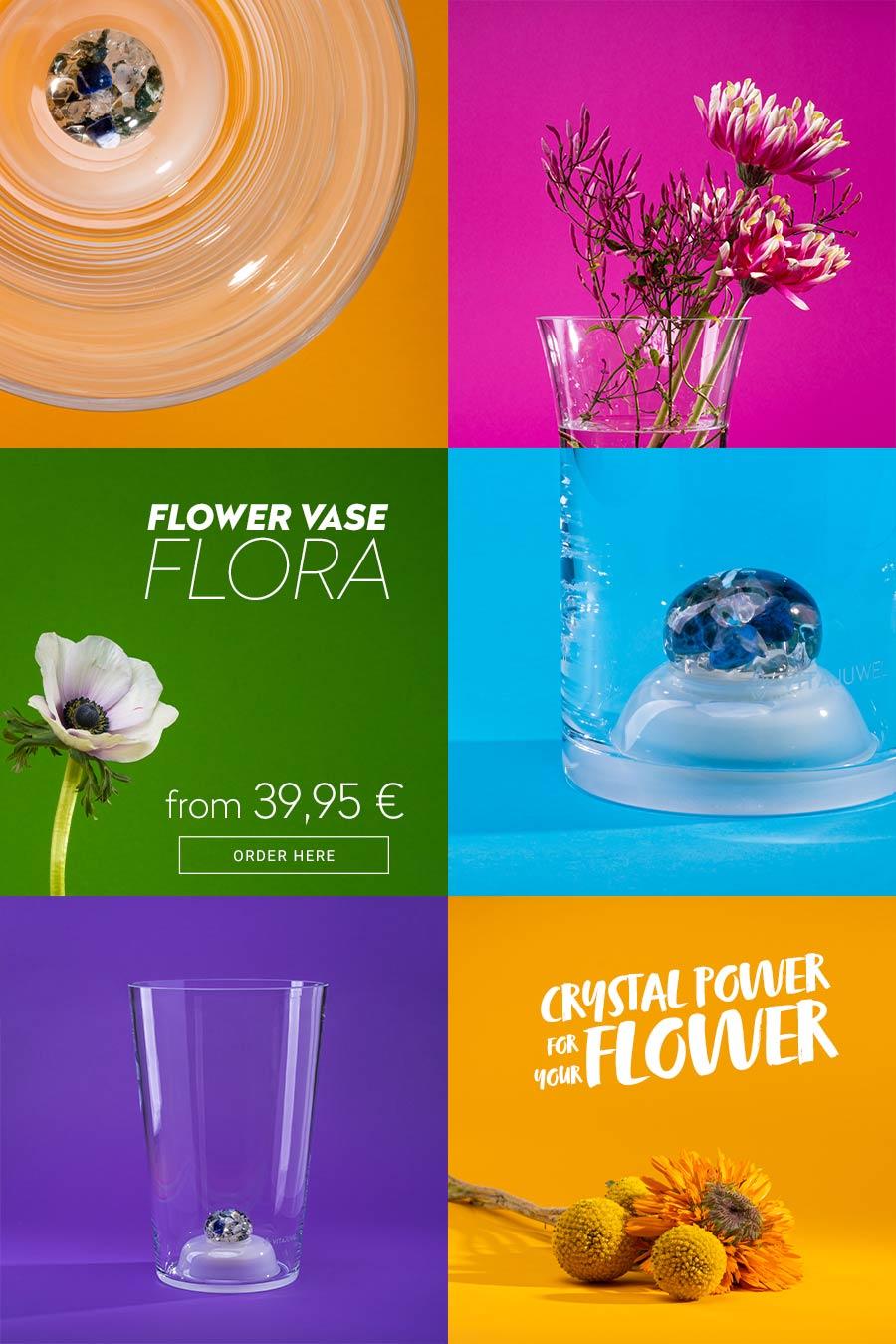 vitajuwel crystals glass flower vase flora