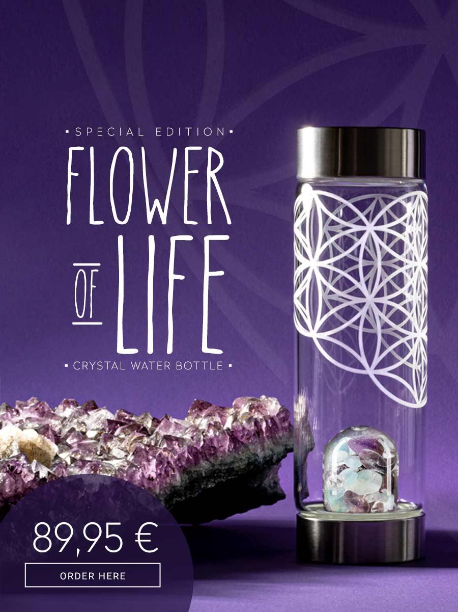 vitajuwel crystal water flower of life glass bottle amethyst aquamarine clear quartz