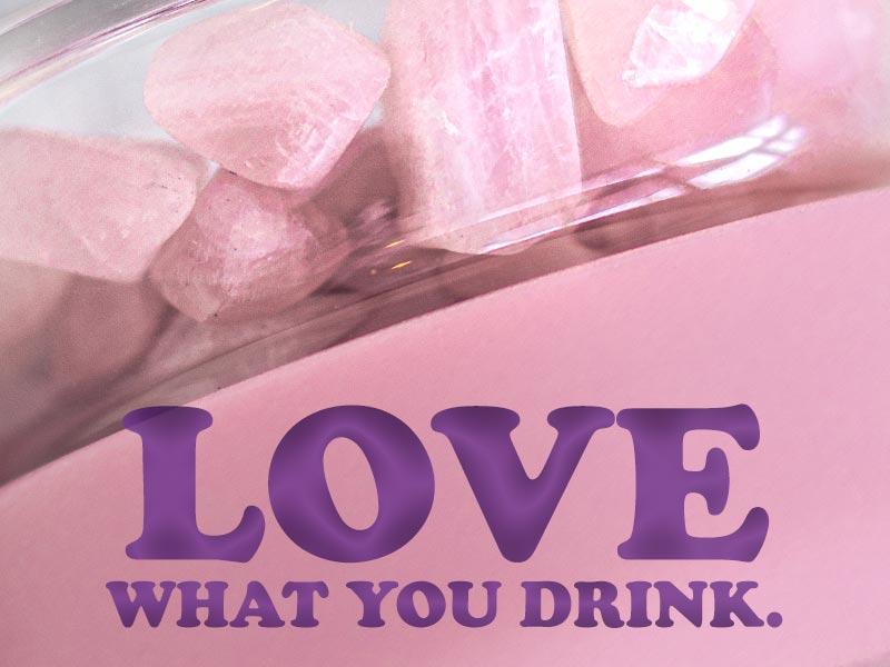 inu edelsteine glasflasche edelsteinwasser blossom rose rosa